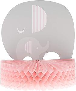 Baby Shower Girl 'Little Peanut' Elephant Party 3D Honeycomb Table Centerpiece