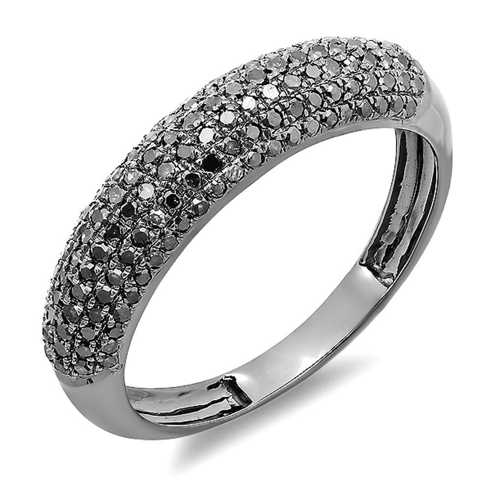 0.50 Carat (ctw) 14k White Gold Black Plated Round Black Diamond Ladies Anniversary Wedding Band 1/2 CT (Size 8.5)