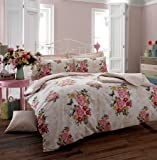 New Flower Duvet cover Bedding set, Quilt cover with Pillow cases all sizes Free Delivery (King, Memories Pink)