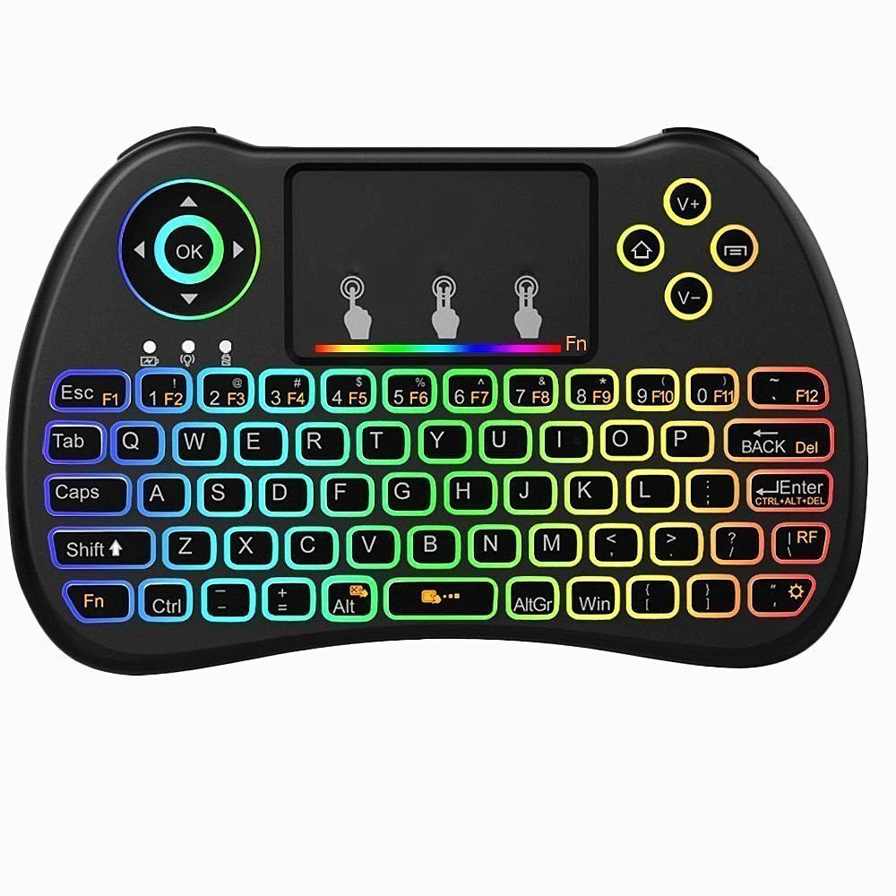 abcGOODefg H9 2.4GHz Colorful Backlit Touchpad Mouse Wireless Mini Keyboard Combo, Rechargeable Handheld Remote for Android TV