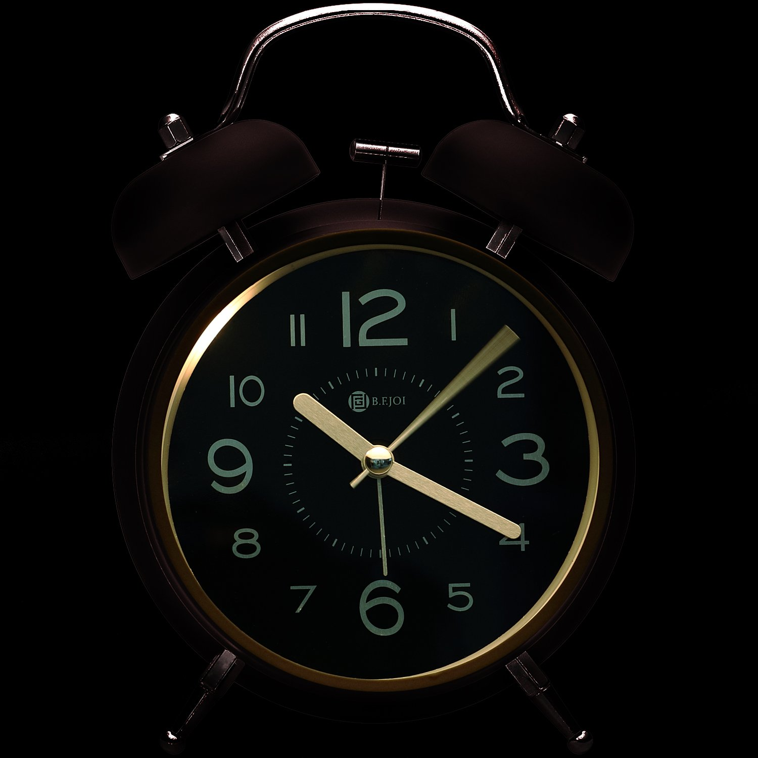 4'' Twin Bell Alarm Clock with Metal Dial, Nightlight, No Ticking Battery Operated Loud Alarm Clock for Bedroom (Black) by B.F.JOI (Image #7)