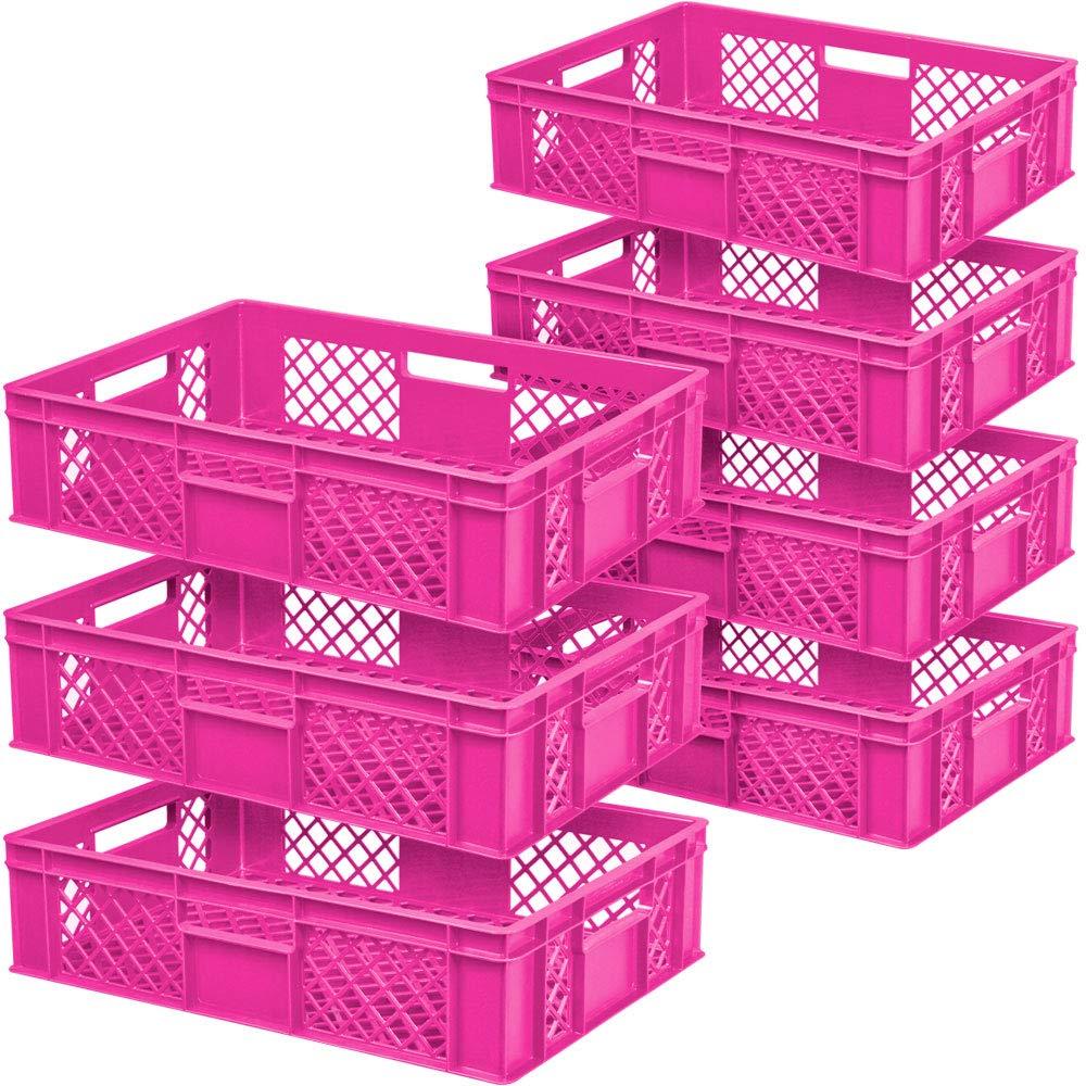 7x Eurobehälter/Stapelbehälter, LxBxH 600 x 400 x 150 mm, pink, Inhalt 27 Liter, lebensmittelecht