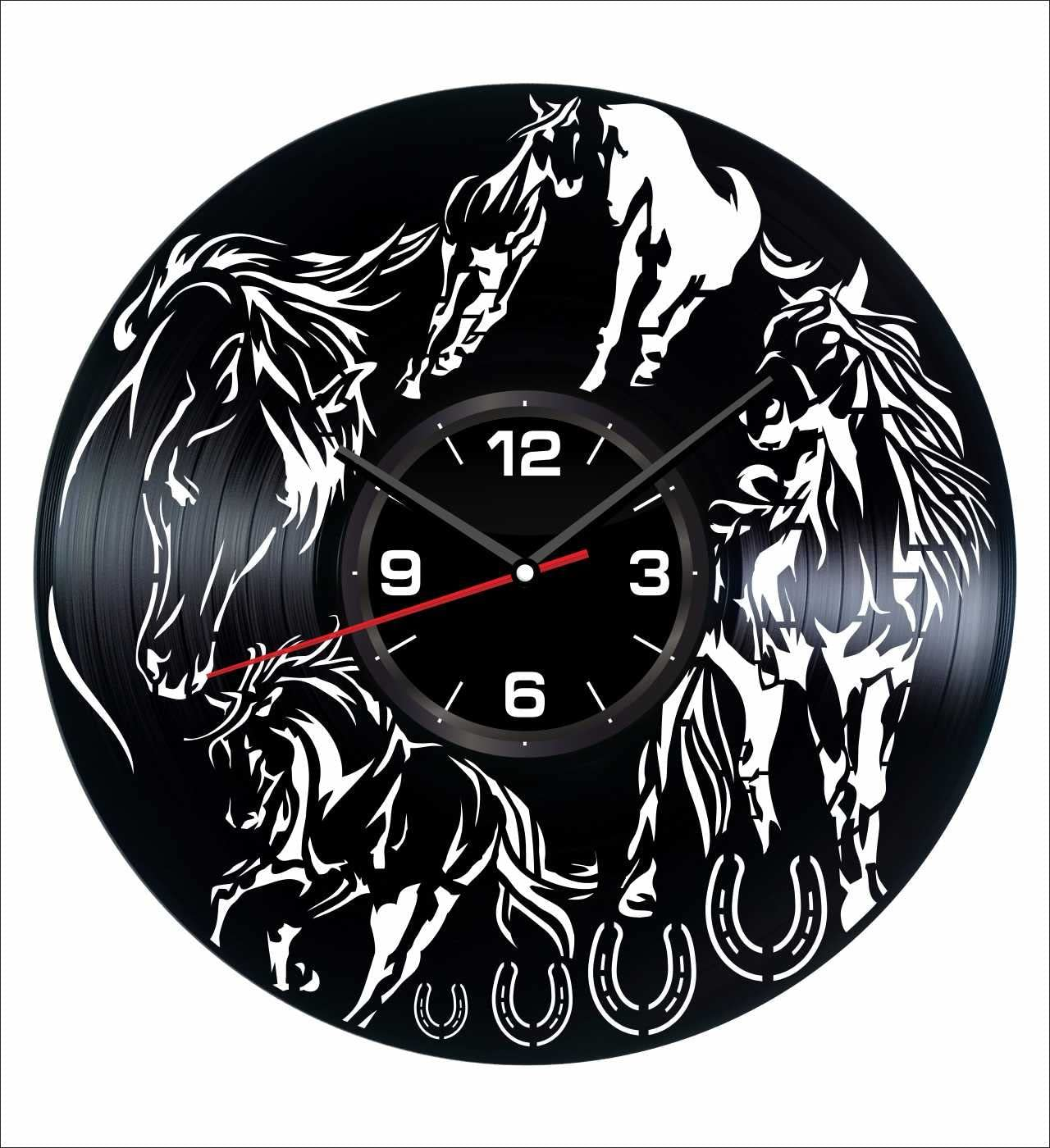 Horses Wall Clock Made of Vintage Vinyl Records - Stylish Clock and Amazing Gift Idea – Unique Home Decor – Personalized Presents for Men Women Kids – Great for Living Room Bedroom Kitchen