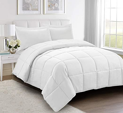 2//3PC Diamond Stitched Quilted Down Alternative Ultra Plush Solid PURE WHITE