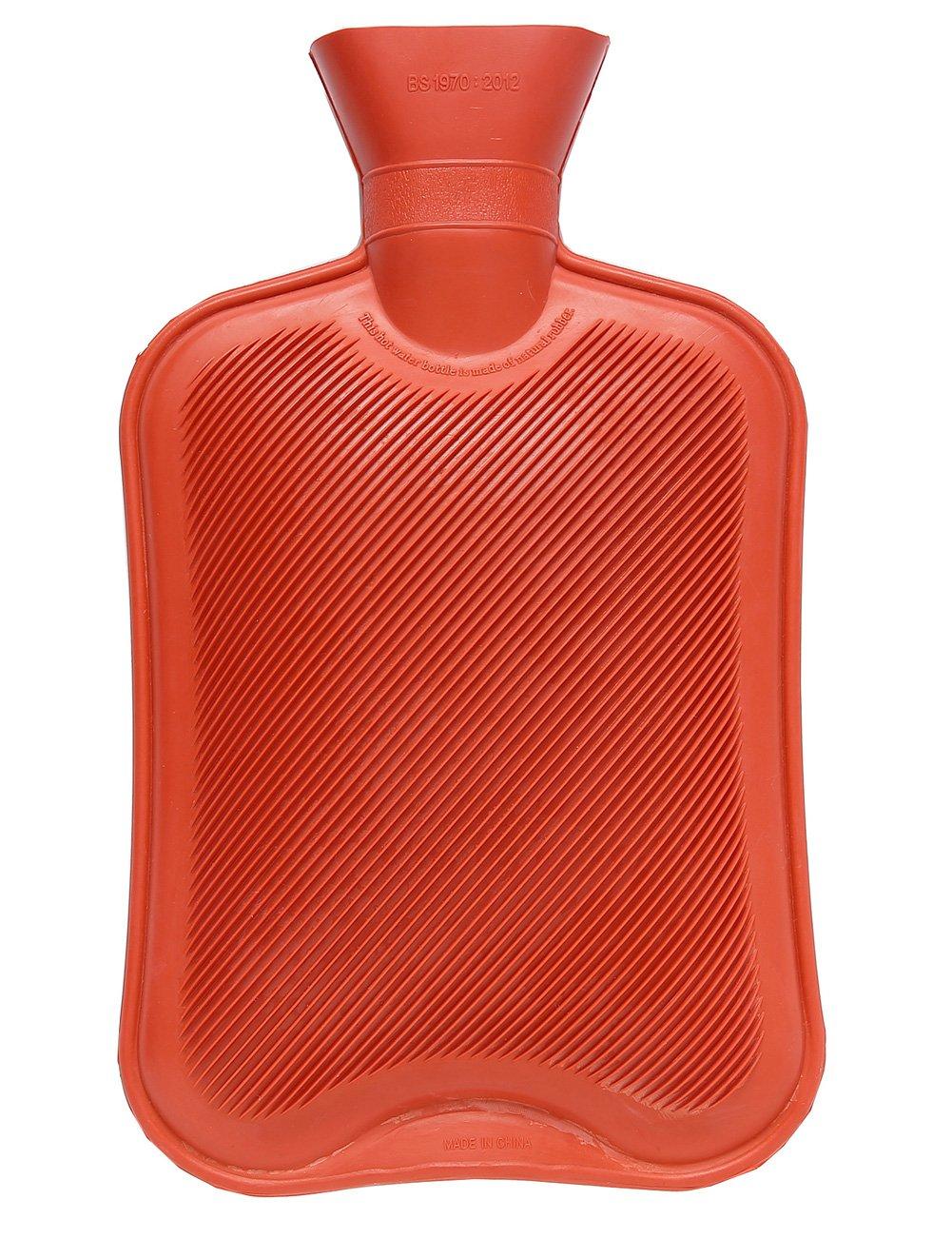 HomeIdeas 2 Liter Full Size Natural Rubber Multifunctional Safe Hot Water Bottle (Red)