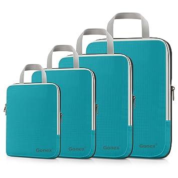 Gonex - 4 Packs Organizador Maleta Bolsas Portátiles para Ropa Bolsas Extensibles e Impermeables Organizador de Almacenaje del Cuatro-tamaño y a Prueba de ...