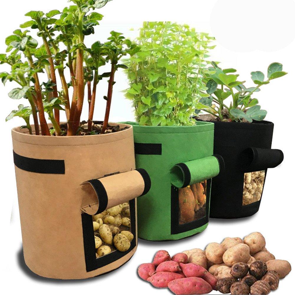 Potato Grow Bag, HomeYoo 3 Pack Potato Planter Bag/Plant Pots,7-Gallon Velcro Window Vegetable Planting Grow Bag,Double Layer Premium Breathable Nonwoven Cloth with Strap Handles for Potato/Carrot (3)