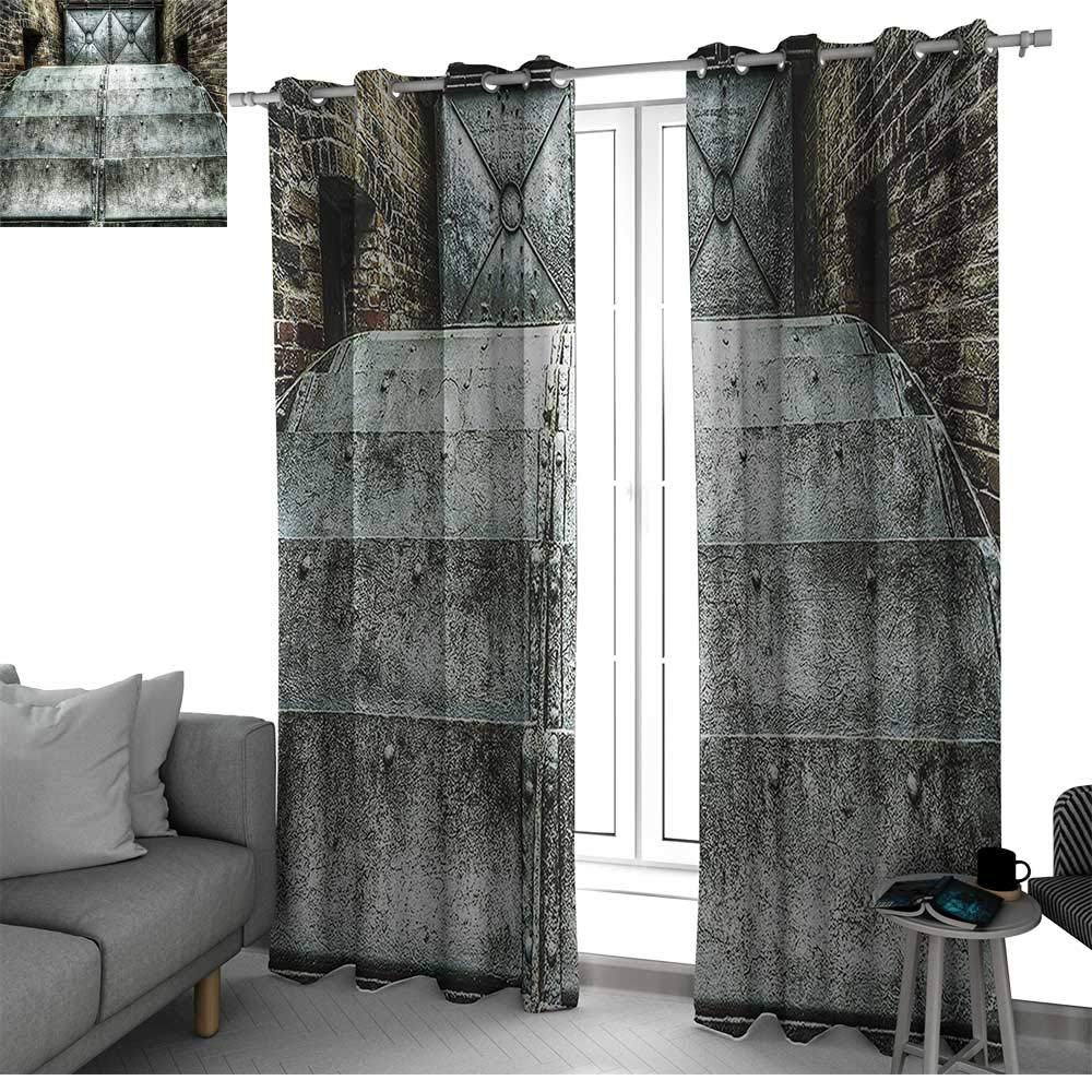 bybyhome Industrial Decor Collection Kitchen/Bedroom Window Treatments Home Decoration Factory British Victorian Times Old Fashioned Historic Heritage Recession Image Kitchen Curtain Metallic Silver