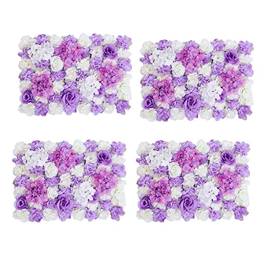 4pcs Handmade Artificial Flower Wall Panel Wedding Photo Props Purple