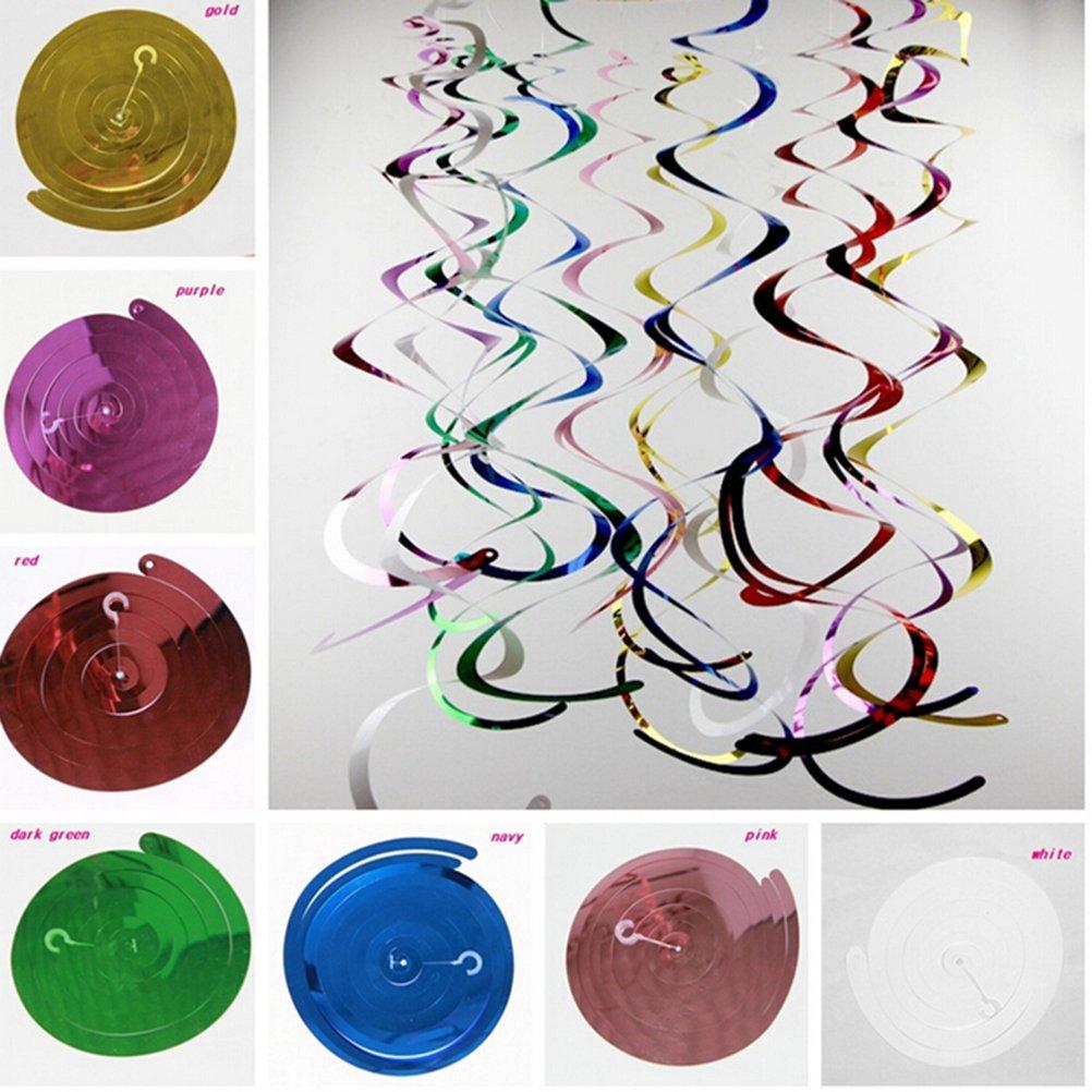 WINOMO 14pz/pack colore nastro a spirale ciclone trascorso appeso alluminio lamina ciondolo partito decorazioni a spirale appeso (colore misto)