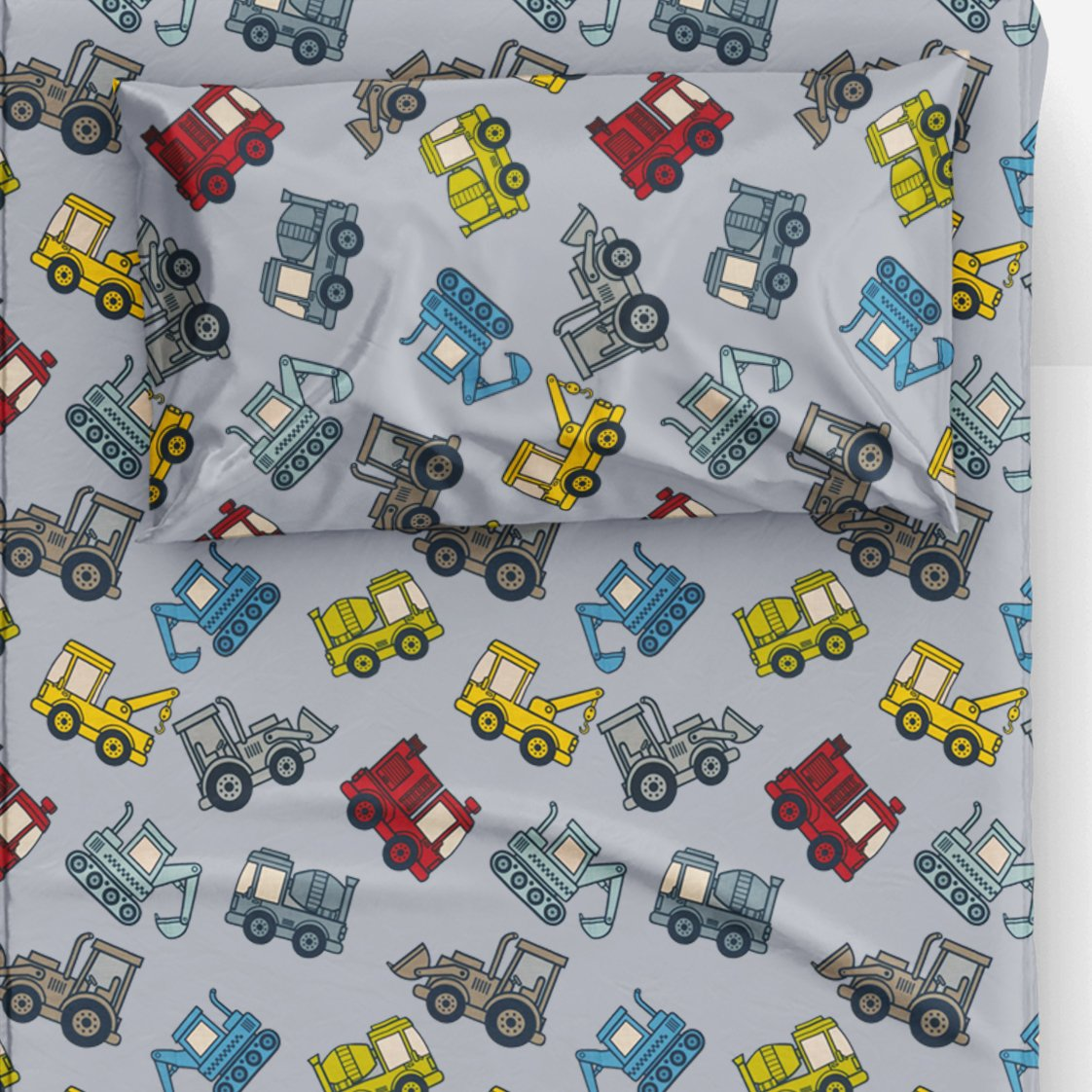 Thread Nebula Colorful Construction Trucks Boys Bed Sheet Set, Super Soft 3PC Kids Bedding Twin Size