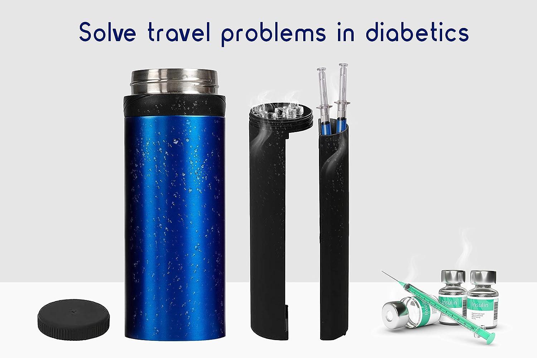 72H Insulin Cooler with Charger for Travel Beach Plane Car Diabetic Organizer Syringe Flexpen Humalog Levemir Vial Portable Holder Hard Case Mini Fridge Insuline Gel Protector Medical Carrying Bag