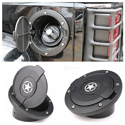 Jeep Fuel Door Cover,Athiry Black Powder Coated Steel Door Cover Gas Cap Cover for Jeep Wrangler Accessories 2007-2020 JK & Unlimited 4 Door 2 Door Rubicon Sahara: Automotive
