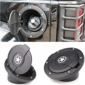 Fuel Door Cover for Jeep, Athiry Black Powder Coated Steel Door Cover Gas Cap Cover for Jeep Wrangler Accessories 2007 - 2017 JK & Unlimited 4 Door 2 Door Rubicon Sahara