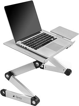 Escritorio portátil de aluminio ajustable Executive Office Solutions, con ventiladores de CPU, soporte lateral, portátil, MacBook, peso ligero, ergonómico, bandeja de regazo para TV, color negro: Amazon.es: Electrónica