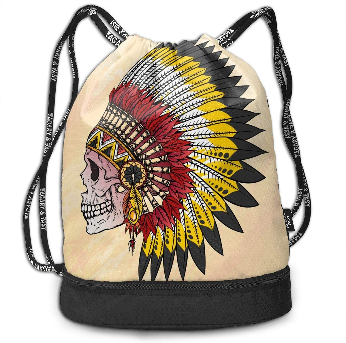 HUOPR5Q Skull Indian Drawstring Backpack Sport Gym Sack Shoulder Bulk Bag Dance Bag for School Travel
