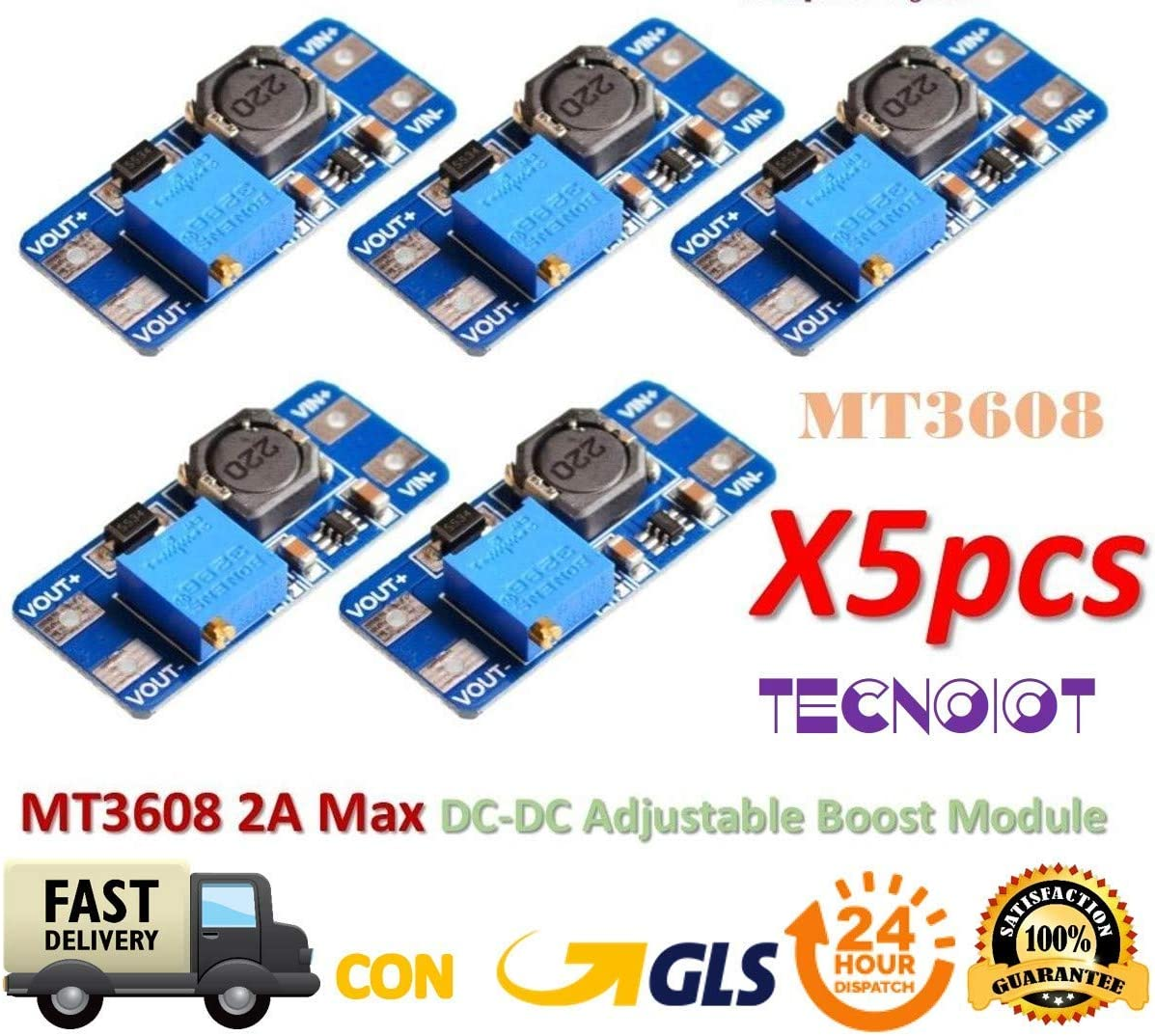 TECNOIOT 5pcs MT3608 2A MAX DC-DC Step Up Power Module Booster Power Module
