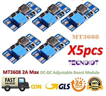 5pcs//set MT3608 2A DC-DC Step Up Power Apply Booster Power Module for Arduino