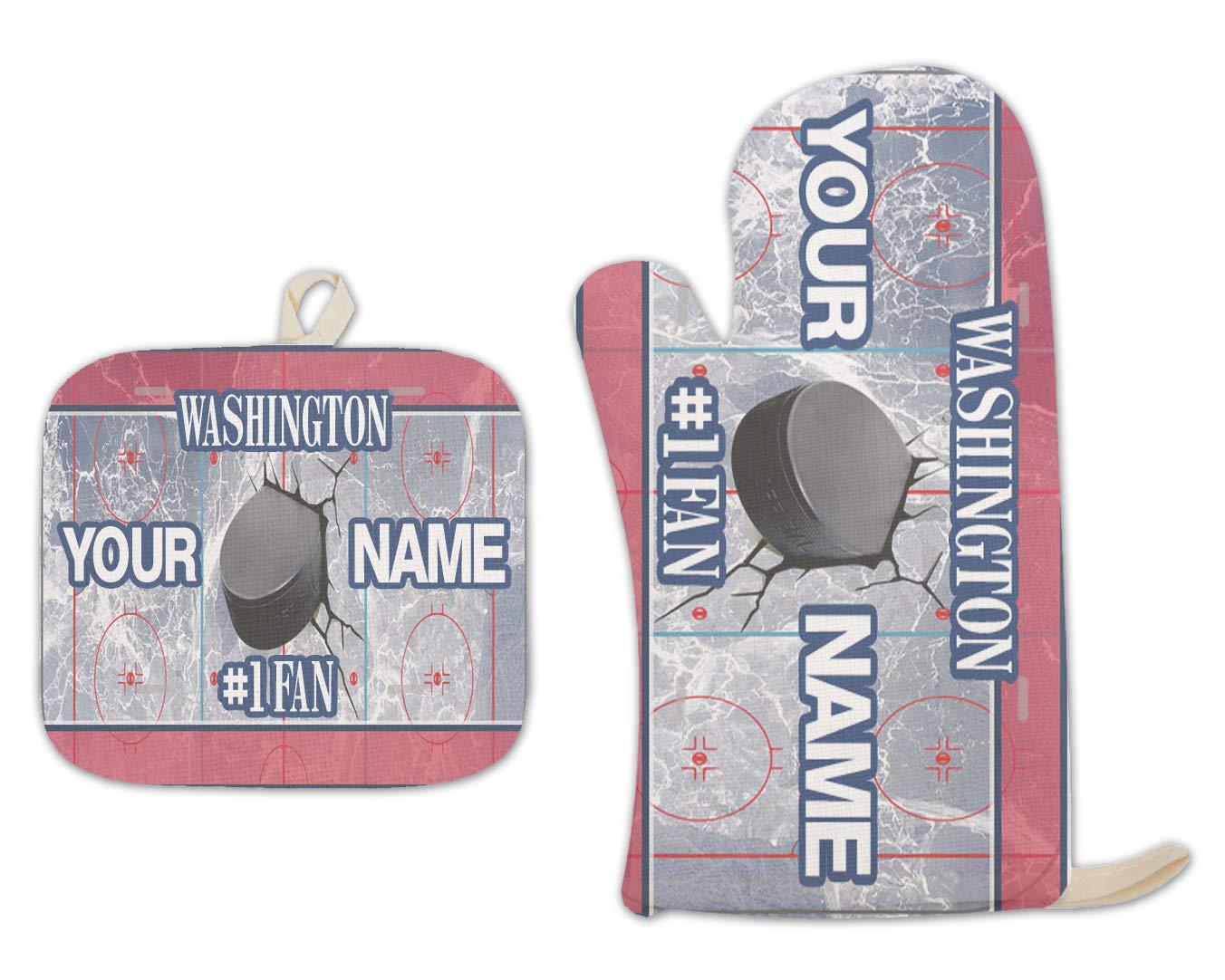 Bleu Reign BRGiftShop Personalized Custom Name Hockey Team Washington Linen Oven Mitt and Potholder Set