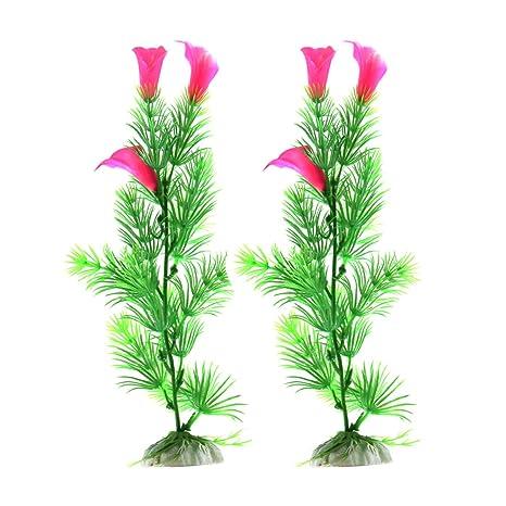 sourcing map 2Pcs Planta Hierba Flor Aritificial de Plástico Verde para Acuario Pecera Tanque Decoración Ornamento
