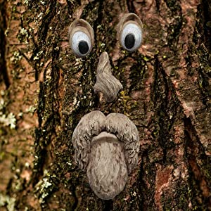 BestTeam 3D Old Man Tree Face Yard Art Decorations,Funny Old Man Face Sculpture Whimsical Tree Face Garden Decoration (A)