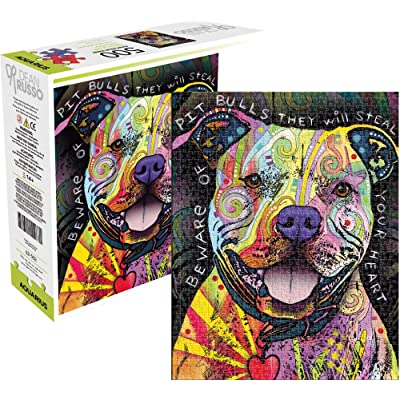 Aquarius Dean Russo Beware Pit Bull 500 Piece Jigsaw Puzzle: Toys & Games
