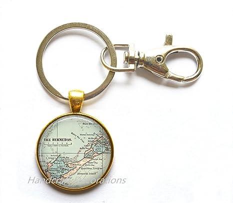 Amazon.com: Encantador Llavero Bermuda mapa llavero, Bermuda ...