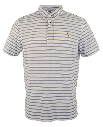 Polo Ralph Lauren Men s Striped Hampton Knit Oxford Short Sleeve Polo ... f9fa464e48a6