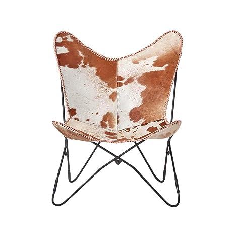 Homescapes Butterfly Chair - Sillón de Piel de Vaca, diseño ...