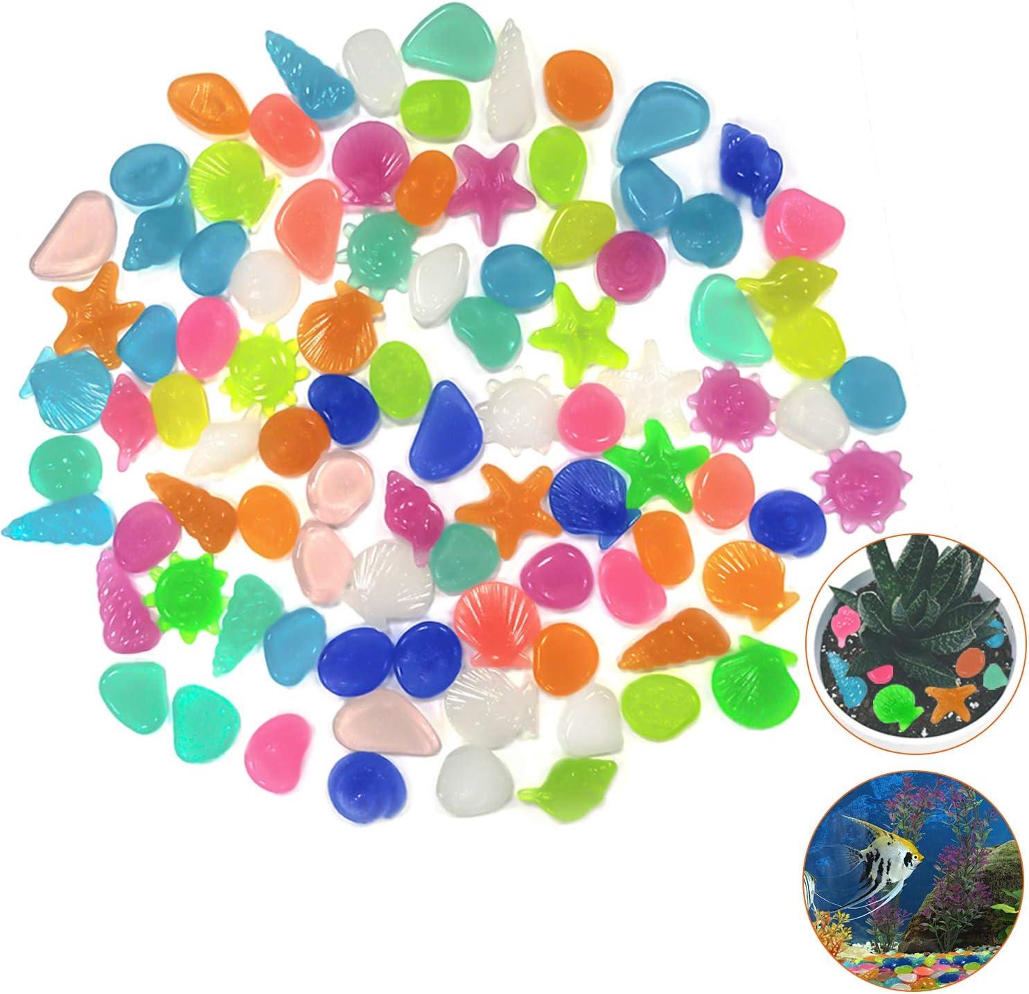 Yisscen Guijarros brillantes, piedras luminosas, 90 piezas de guijarros fluorescentes, concha de estrella de piedra brillante, para acuarios Decoración de viveros de jardín (color mixto): Amazon.es: Jardín
