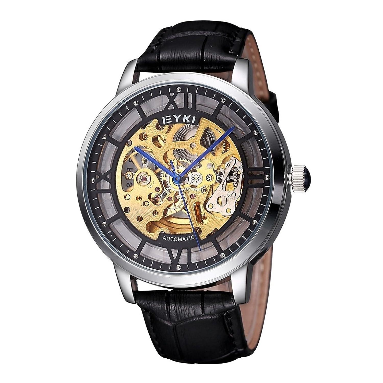 SunSky rund transparent Zifferblatt Fashion Sport Automatische Mechanische Bewegung Uhr mit PU-Leder Band Unisex