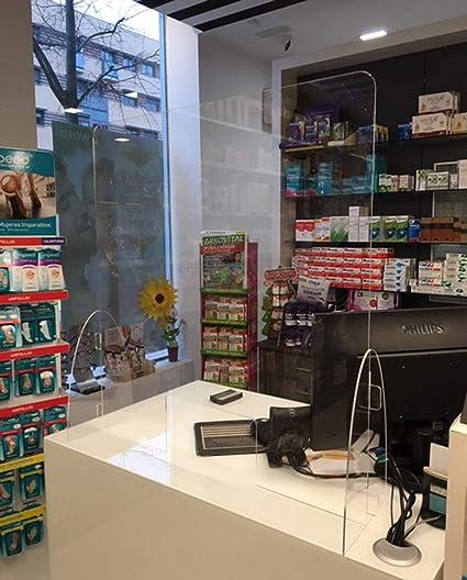 Mampara para farmacias. Pantalla protección para mostrador. Mampara separadora metacrilato para farmacias panaderias estancos supermercados alimentación (ANCHO 71 ALTO 75): Amazon.es: Oficina y papelería