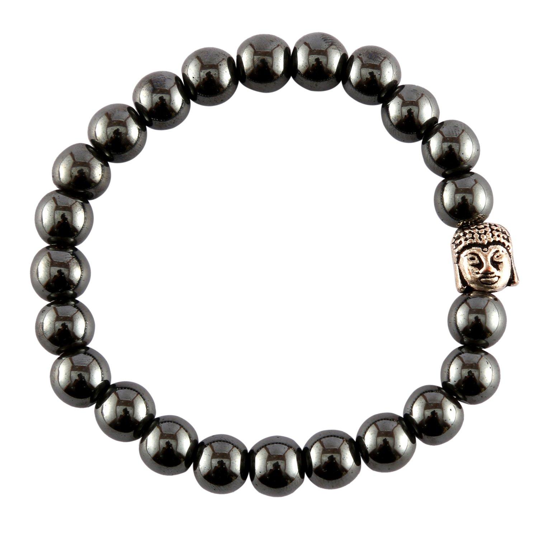 Aatm Gemstone Hematite Buddha Facetet Charm Bracelet Stone for Power & Courage
