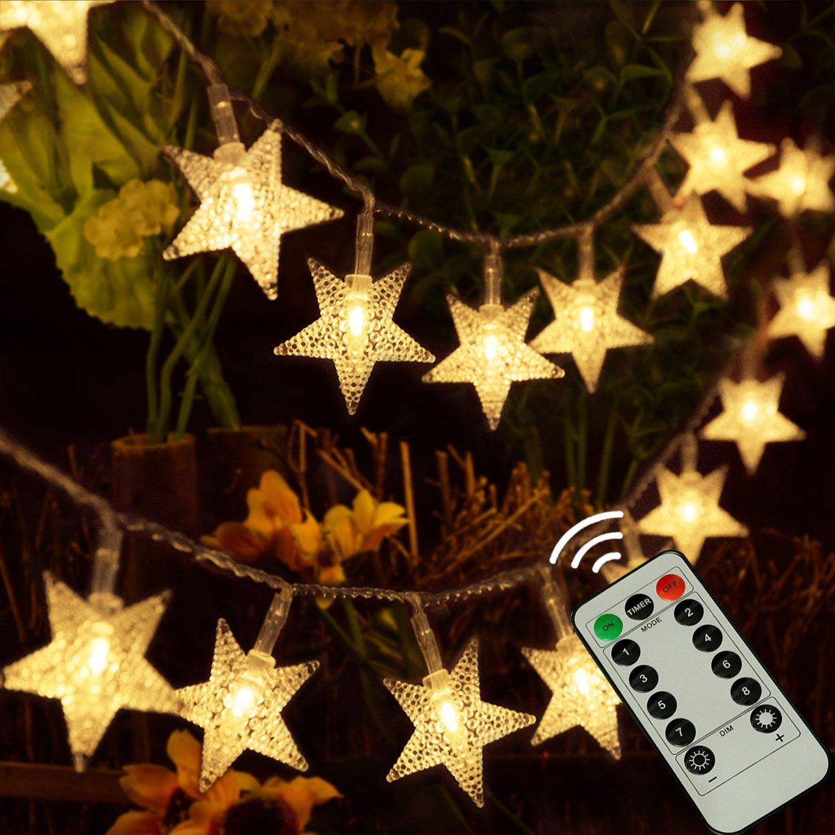 kingleder 25ft 50 LED Xmas Star Light Fairy String Light w Remote for Christmas Weddings Family Festival Party Warm White