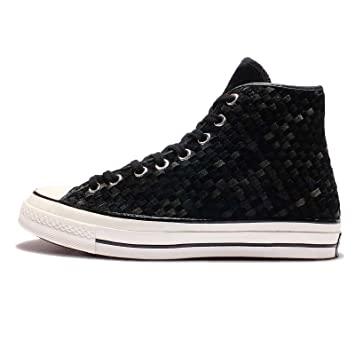 Converse Men's Chuck Taylor All Star 70, WOVEN SUEDE-BLACK/WHITE, 4