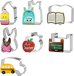 Back to School Cookie Cutters Set - 7Pcs Teacher Appreciation Cookie Cutter Stainless Steel First Day of School Icing Cookie Molds - Pencil, Scissors, Apple, School Bus, Backpack, Black Board Shapes