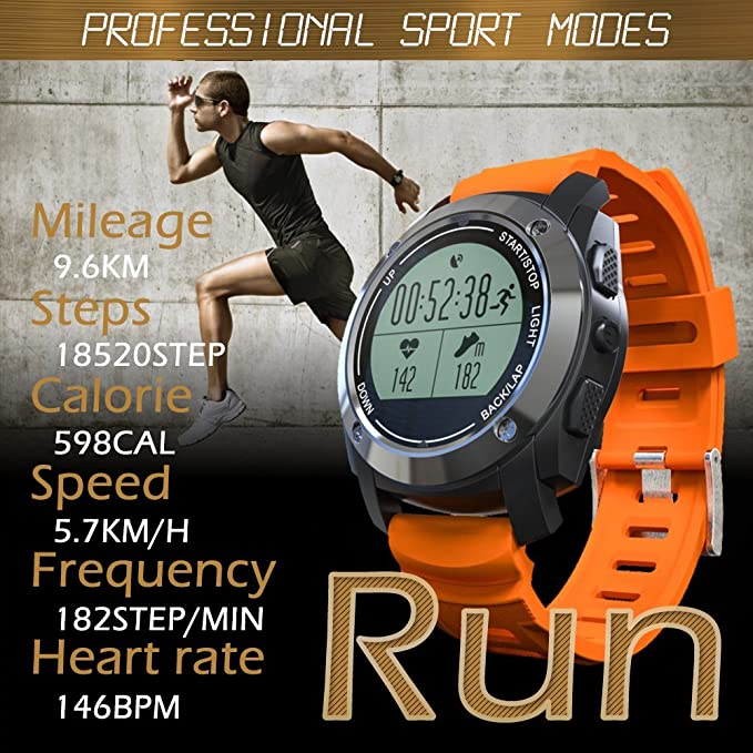 7aaf11fbb Amazon.com  Rookee Smart Watch S928 - Built-in GPS For Outdoor Sports