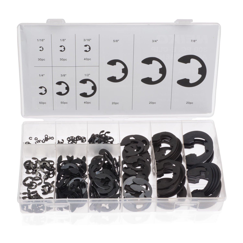 Neiko 50455A E Clip Shop Assortment 300 Count   9 Sizes 1 16 7 8