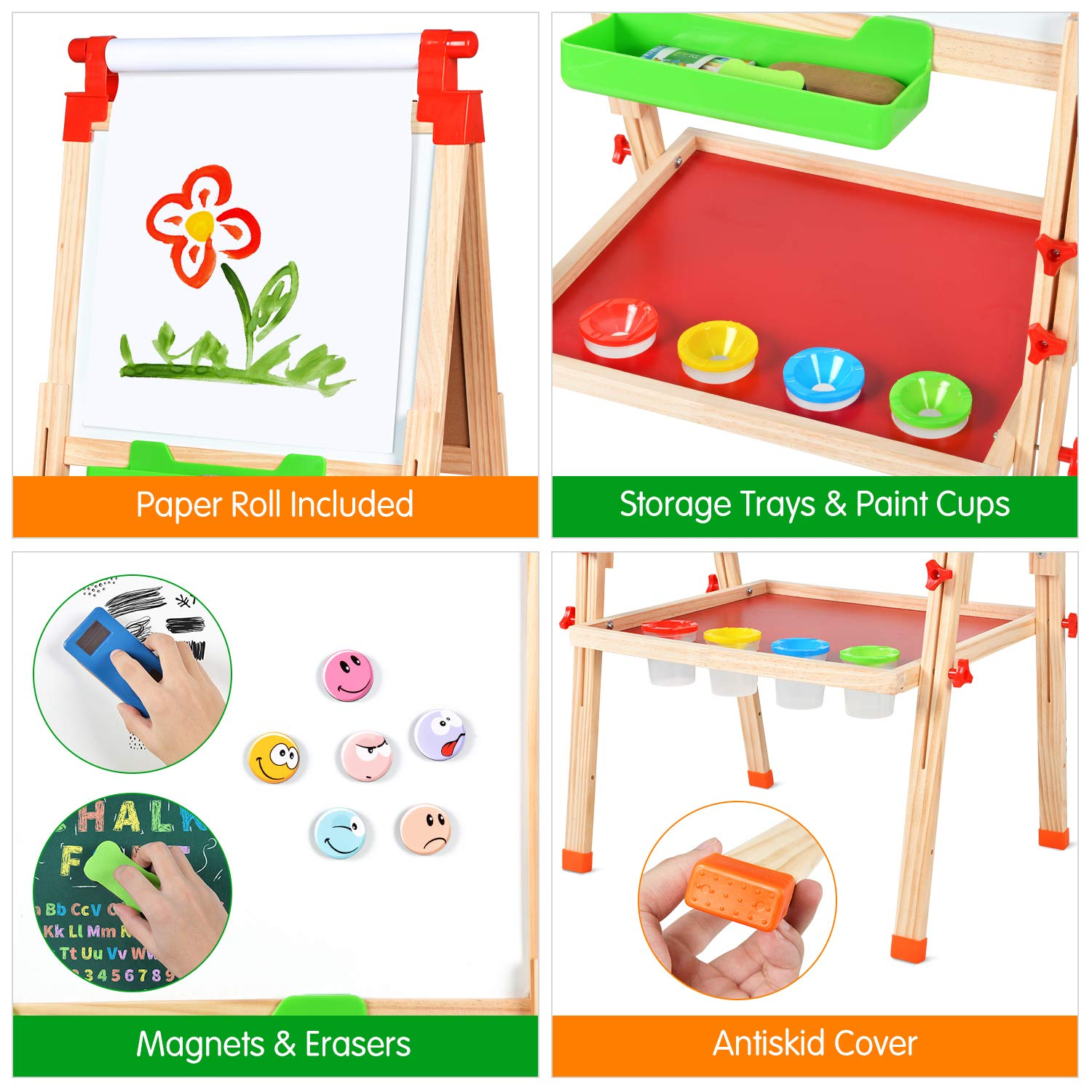 Wesimplelife Kids Art Easel Wooden Easel Double Sided Green and White Board 3 in 1 Adjustable Table Easel Chalkboard with Paper Roller Magnets Educational Toy Gifts for Children