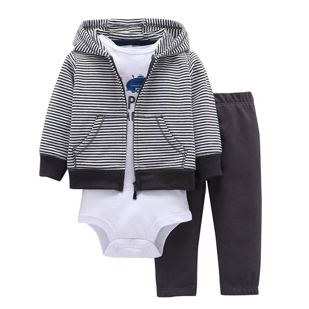 3pcs Baby Boy Clothes Stripe Hoodie Jacket Long Sleeve Bodysuit Pants Clothing Infant Autumn Winter Set (6-9m, White)