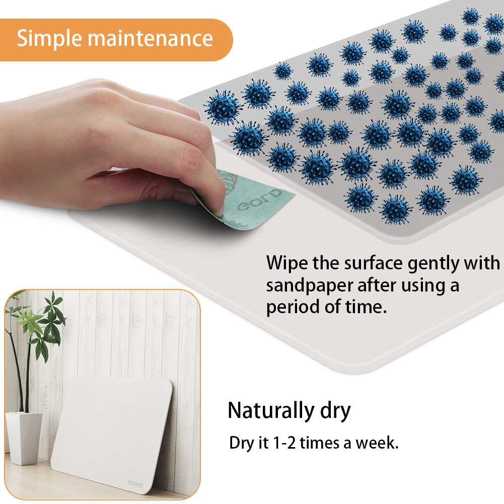 Bath Shower Mat,IEOKE Diatomaceous Earth Bath Mat,Non Slip Mats Absorbent Fast Drying Antibacterial for Bathroom Shower Floor 23.5-Inch-by-15-Inch IeokeDirect