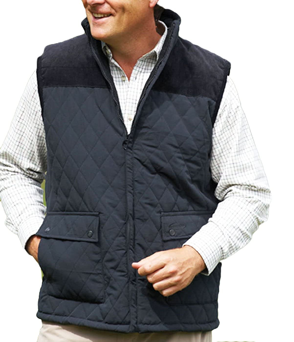 New Champion Country Estate gilet outdoor bodywarmer Diamond Quilted waistcoat Outerwear jacket fishing hunting shooting walking farming Black M MCOAT-CHAMPION-3613-Black-MED