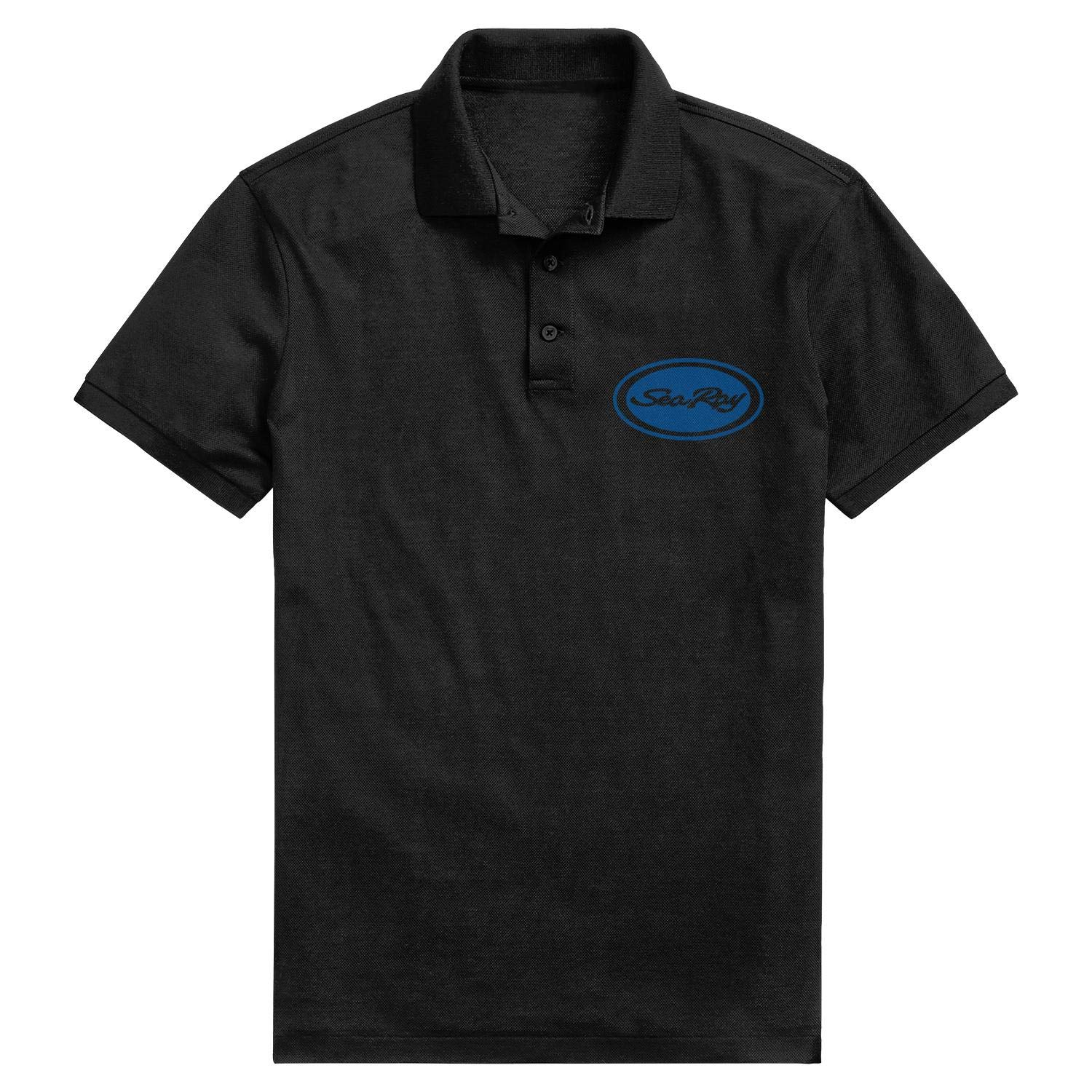 Mens Quick-Dry Pique Polo T Shirt Fit Sea Ray Logo Circle Blue Adjustable Office Short-Sleeves
