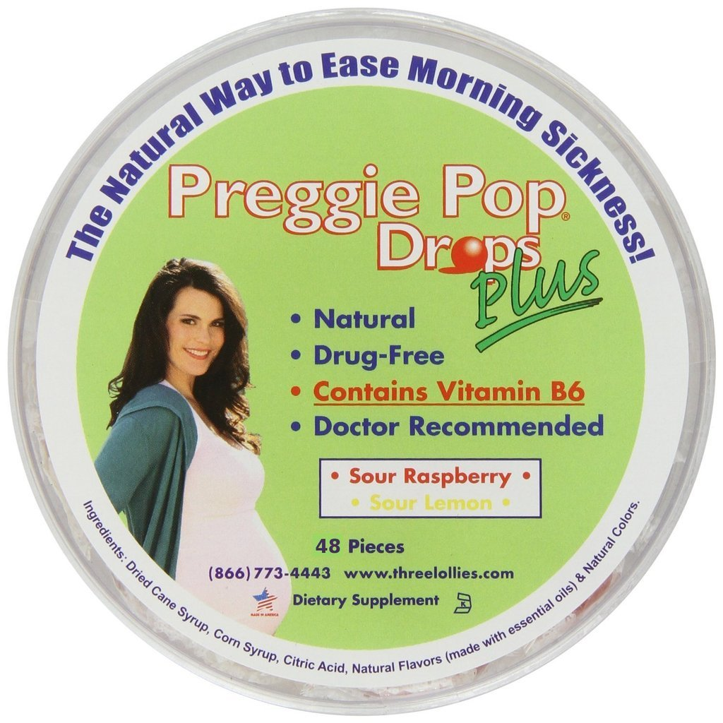 Three Lollies Preggie Pop Drops Plus w/ Vitamin B6 for Morning Sickness Relief, 48 Count