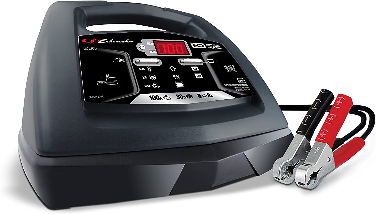 Schumacher SC1308 6/12V Fully Automatic Battery Charger and 30/100A Engine Starter with Advanced Diagnostic Testing