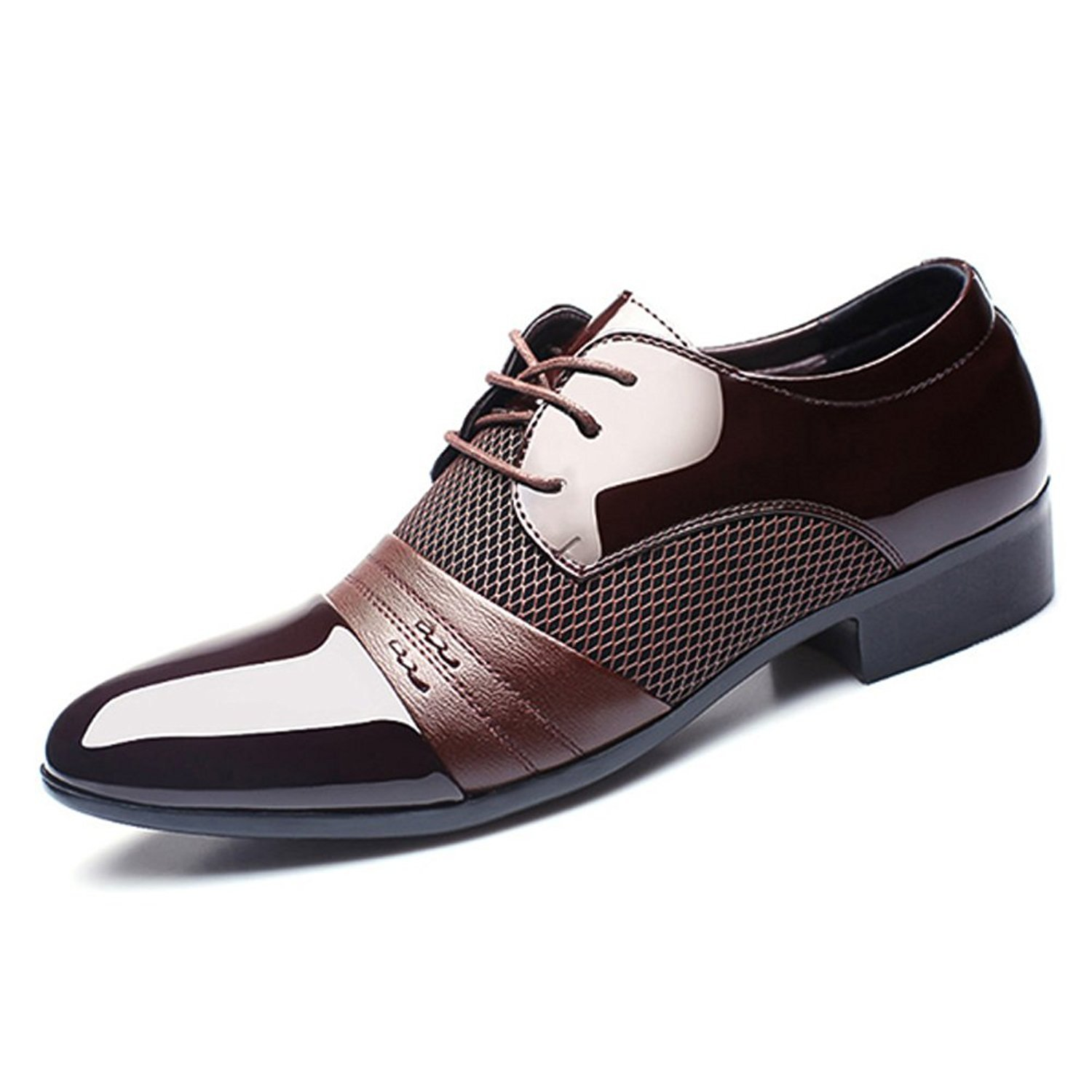 Seakee Men's Classic Breathable Oxford Lace-up Tuxedo Dress Shoes Brown US 8.5