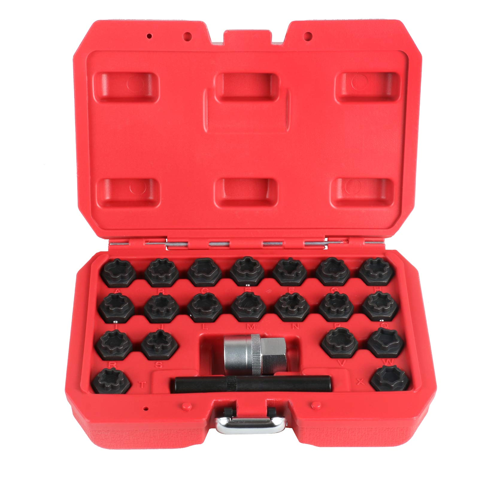 BELEY 22pcs Wheel Lock Lug Nuts Removal Set, Automotive Wheel Anti-Theft Screws Remover Socket Keys Remover Kit for Audi