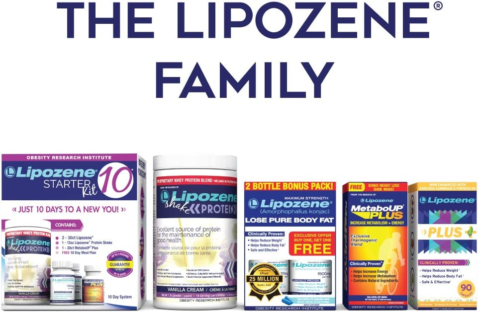 Lipozene - Weight Loss Supplement Diet Pills - Appetite Suppressant and Control - Two Bottles 60 Capsules Total