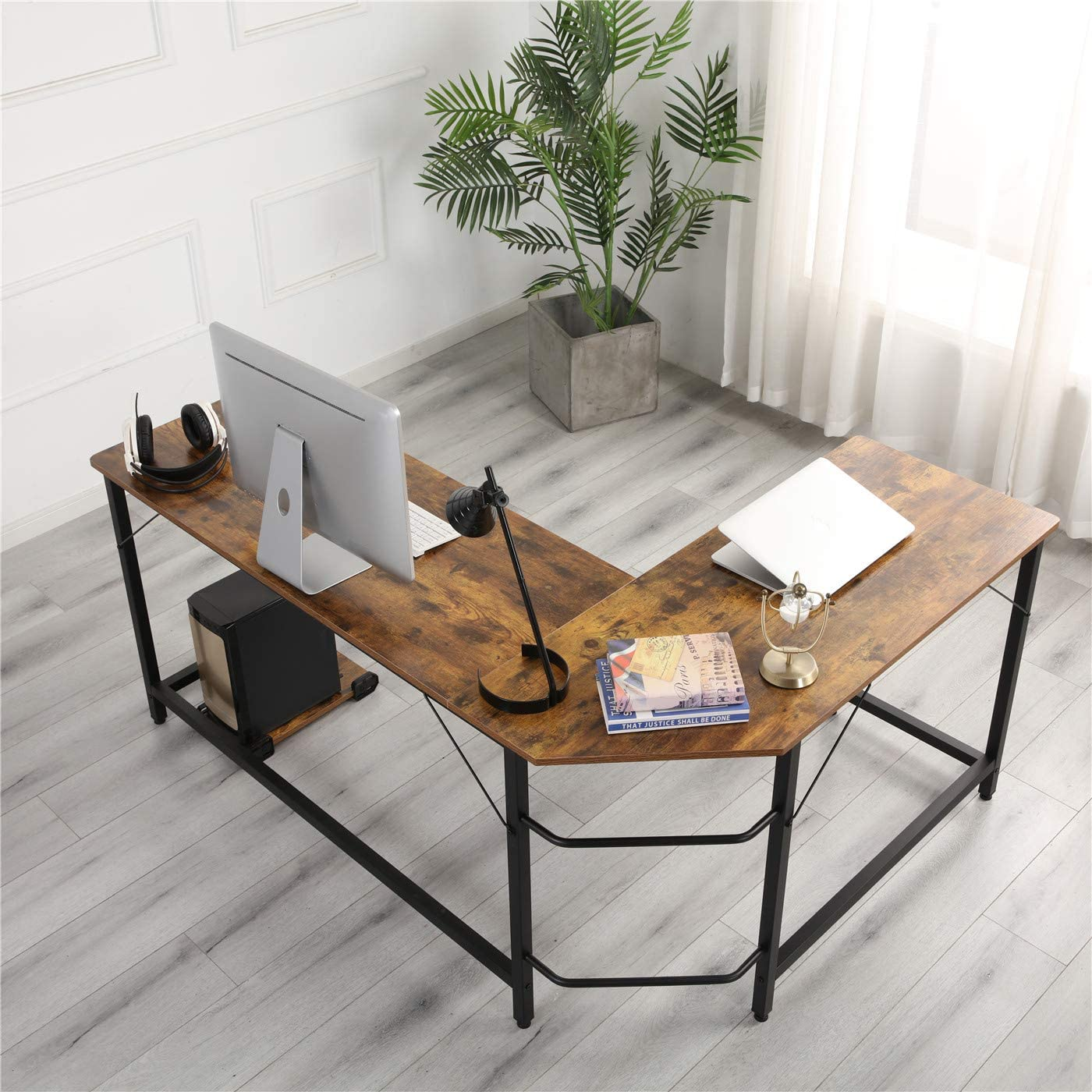GREATMEET L Shaped Home Desk,Corner Gaming Desk Computer Desk PC Table Workstation