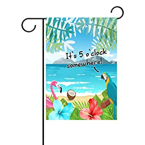 ALAZA Duble Sided Flamingo Parrot It's 5 o'clock Somewhere Tropical Flowers Palm Coconut Beach Ocean Island Polyester Garden Flag Banner 12 x 18 Inch for Outdoor Home Garden Flower Pot Decor